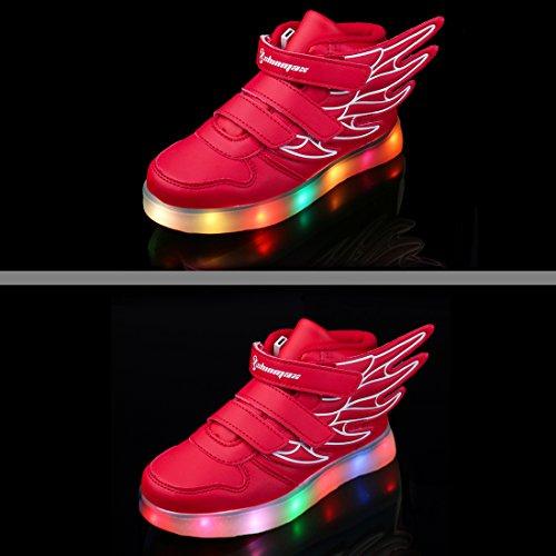 Angin-Tech Multi-Color-Blink LED Kinderschuhe Turnschuhfreizeitschuh Leucht Kinderschuhe für Dank, der Weihnachten Halloween mit CE-Zertifikat Rot3