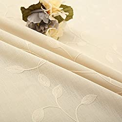 """Tina Cotton Linen Leaf Embroidered 20x20"""" Cloth Napkin Set of 6 for Dinner Everyday Use, Beige"""