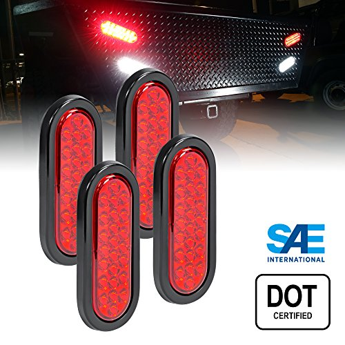 Stop Assembly (OLS 4pc 6 Inch Oval LED Trailer Tail Lights - 24 RED LED Turn Stop Brake Trailer Lights for RV Trucks (DOT Certified, Grommet & Plug))