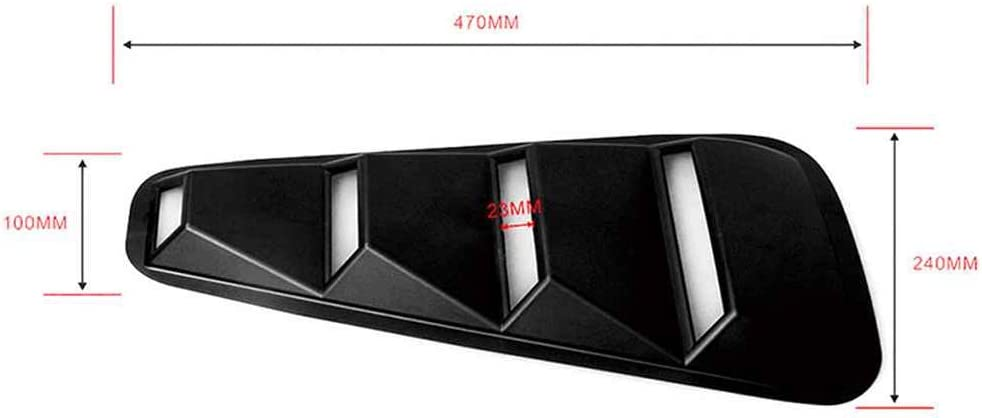 Dpolrs F/ür 2005-2014 Ford Mustang 1//4 Viertelseiten ABS Matte Black Fenster Louvers Scoop Abdeckung Vent Kit