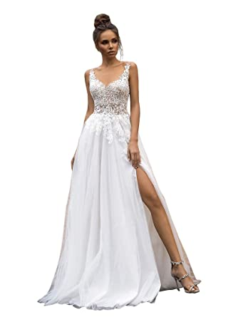 34d3d7db Amazon.com: Nicefashion Straps Sexy V Back A-line Lace Tulle Long Slit  Beach Wedding Dresses for Bride: Clothing