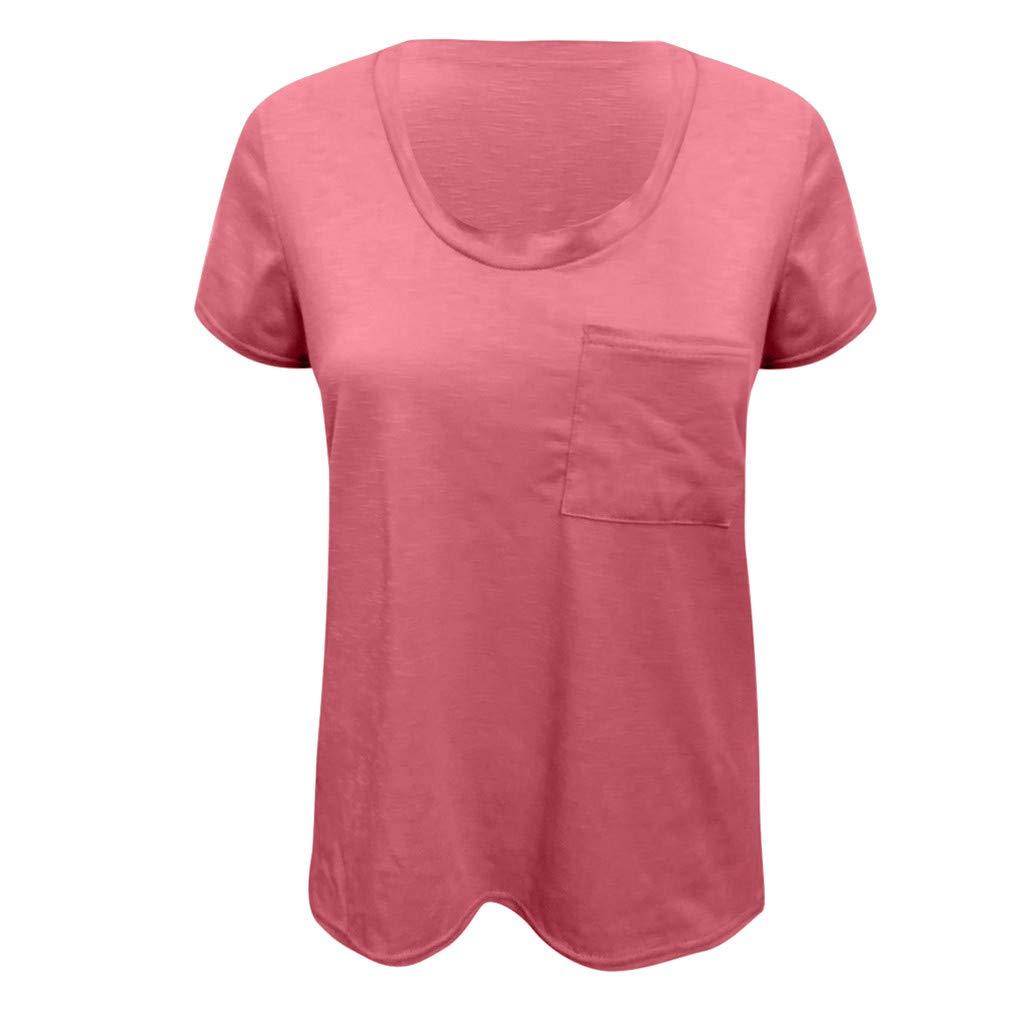 Dorical Descuento Mujeres Blusa Camiseta Moda De Verano Casual Flojo Color S/ólido Bolsillo De Manga Corta Tops Camisa