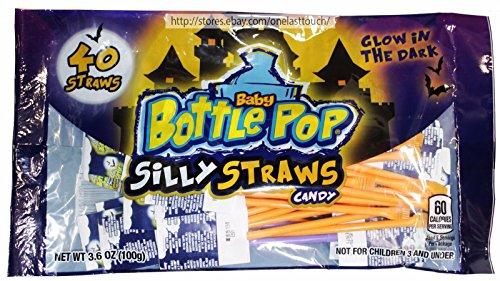 Bazooka 3.6oz Bag 40 Baby Bottle Pop Silly Straws Glow-dark Candy Halloween