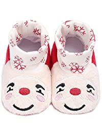 Newborn Baby Boys Girls Santa Claus Christmas Slippers Warm Fur Infant Toddler Boots Booties Shoes,