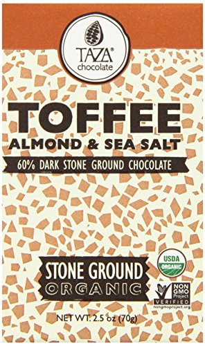 Stone Ground Organic Chocolate (Taza Chocolate Amaze Bar, 60% Stone Ground Organic, Toffee, Almond and Sea Salt, 2.5 Ounce)