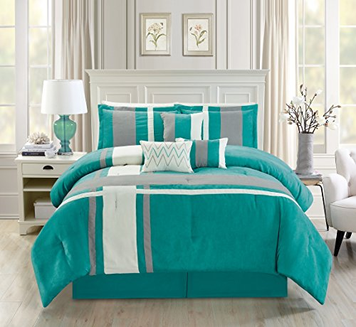 Luxury 7 Piece Micro Suede Stripe QUEEN Bedding Turquoise Blue / Grey / Ivory Comforter Set with accent pillows ()