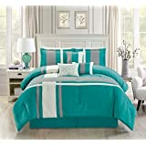 Luxury 7 Piece Micro Suede Stripe QUEEN Bedding Turquoise Blue / Grey / Ivory Comforter Set with accent pillows