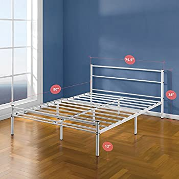Zinus 12 Inch White Metal Platform Bed Frame with Headboard and Footboard, King