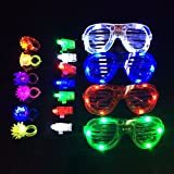 Fun Central BC791 LED Party Pack for Kids - Includes: 40 Pcs Assorted LED Finger Lights, 12 Pcs Assorted Jelly Rings, 12 Pcs Blue, Red, Green, White LED Slotted Shades