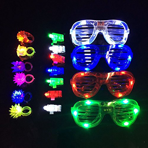 Fun Central (BC791) LED Party Pack, Party Favor Pack, Party Supplies Pack, LED Light Party Pack - LED Finger Lights Assorted 40ct, LED Jelly Rings 12ct, LED Slotted Shades - - Shutter Shades Glowing