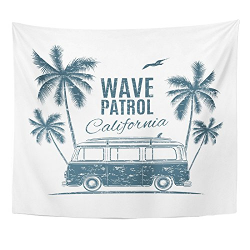 TOMPOP Tapestry Bus Vintage Retro Surf Van Palms and Gull Handdrawn Home Decor Wall Hanging for Living Room Bedroom Dorm 50x60 Inches (Hippy Van)