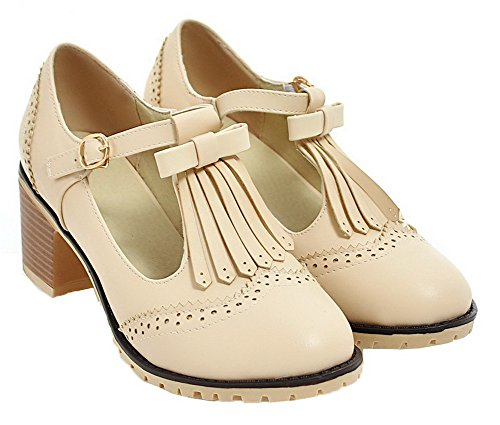Heels Closed Toe Pumps Round VogueZone009 Kitten Shoes Solid Women's Beige PU Buckle 0B0xAI7qw