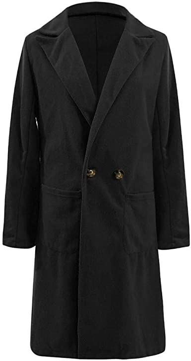 ONTBYB Mens Trench Coat Winter Warm Solid Jacket Single Breasted Overcoat