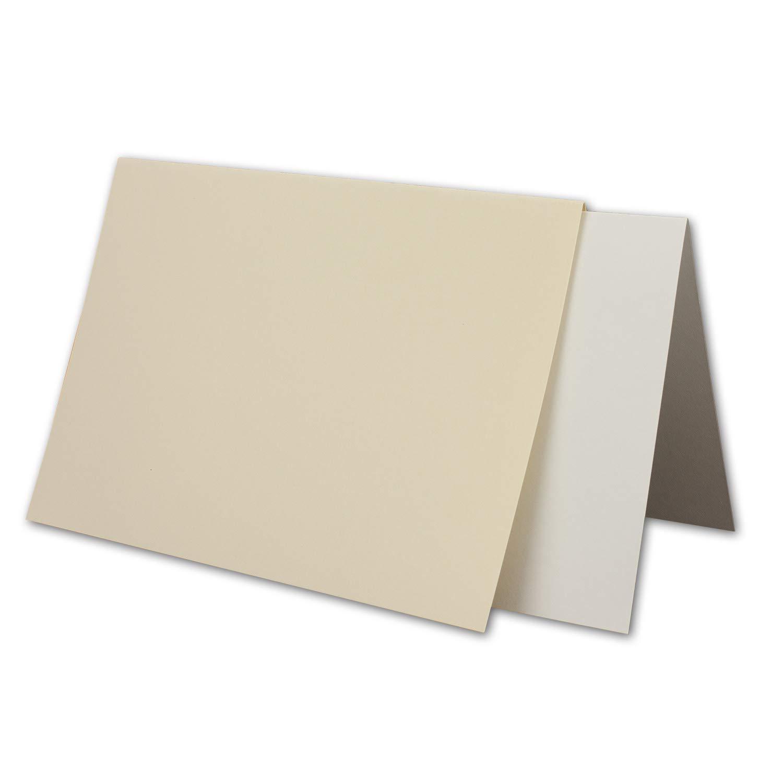 Gerippte Struktur Oberfl/äche Vintage Einladungskarten Falt-Karten mit Brief-Umschl/ägen /& Einlege-Bl/ätter Creme-Chamois 25x Karten-Set DIN B6