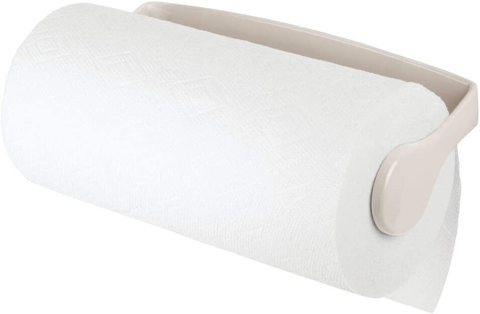 mDesign Plastic Wall Mount Paper Towel Holder & Dispenser, Mounts to Walls or Under Cabinets - for Kitchen, Pantry, Utility Room, Laundry and Garage Storage - Holds Jumbo Rolls - Cream