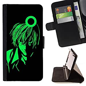 DEVIL CASE - FOR HTC One M9 - Green Man Anime Character Art Cartoon Boy - Style PU Leather Case Wallet Flip Stand Flap Closure Cover