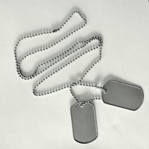 Pkg (2) Blank Dog Tags, Ready to Punch. Each Set Measures 2
