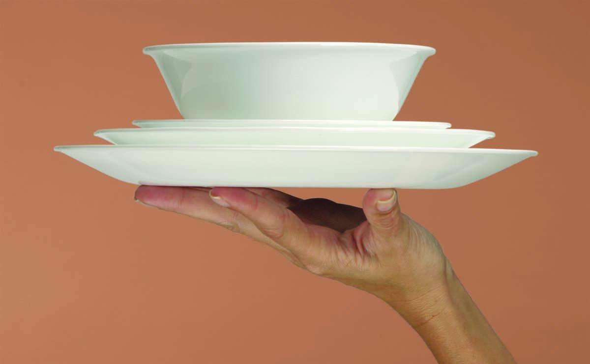 Corelle Service de Vaisselle pour 4 Personnes 16 pi/èces en Verre Vitrelle Motif Splendor Rouge//Gris