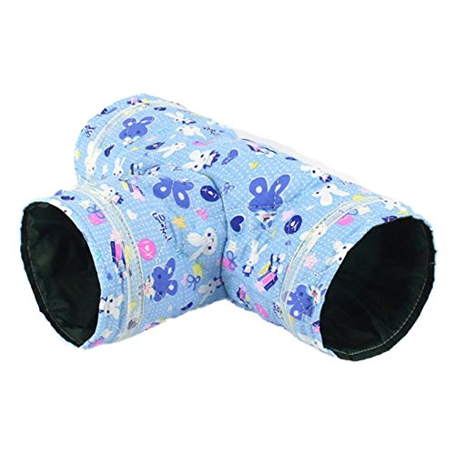 Dora Bridal 3 Way Hamster Tunnel, Collapsible Pet Toy Tunnel Bed for Squirrel, Hamsters, and Other Small Animals, Blue