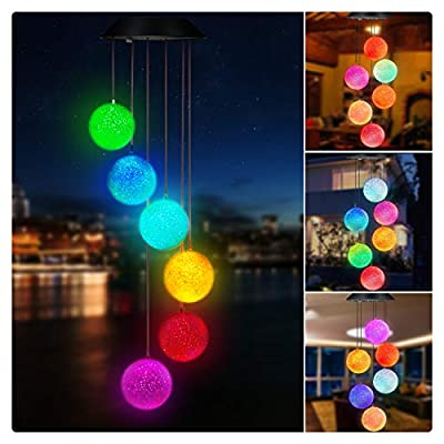 Kohree Crystal Ball Solar Wind Chimes Outdoor, Waterproof Solar Powered LED Wind Chime Light Garden Hanging Lamp Color Changing Crystal Ball Wind Chimes Lights for Patio Decoration Garden Party