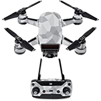 Skin for DJI Spark Mini Drone Combo - Gray Polygon| MightySkins Protective, Durable, and Unique Vinyl Decal wrap cover | Easy To Apply, Remove, and Change Styles | Made in the USA
