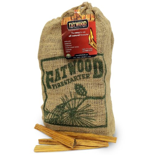Fatwood Firestarter 9912 0.25 Cubic Feet Fatwood for Fireplace in Burlap Bag, 10-Pound