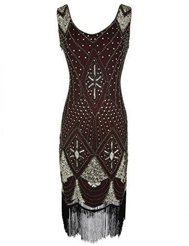 1920s Gatsby Dress Deco Dress Burgundy for Women Art Flapper Sequin Cocktail w1PCqwSn