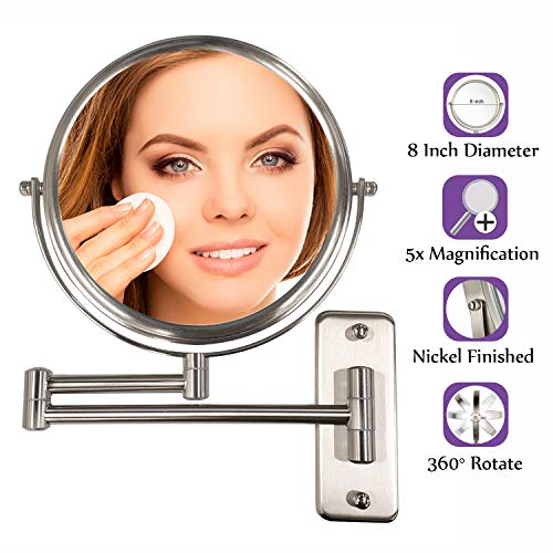 ALHAKIN Wall Mounted Makeup Mirror - 5X Magnification 8