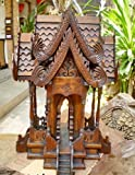 Large Size Home Decor Thai Spirit House, Traditional Thai ,Made From Teak Wood the Temple Has Two Roofs, Inc.Size: 14'' L x 22'' H x 14''W., Products From Thailand
