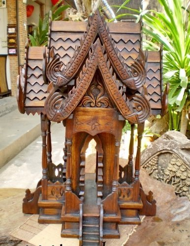Super Large Spirit House, Traditional Thai ,Made From Teak Wood the Temple Has Two Roofs, Inc.. by Thai Craft , Size: 20x20x32 inches. by WADSUWAN SHOP