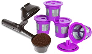 2-Item Bundle: 4-Pack Cafe-Save Reusable Filters + EZ-Scoop 2 Tbsp Coffee Scoop with Integrated Funnel for Refillable K-Cup Pod Capsule