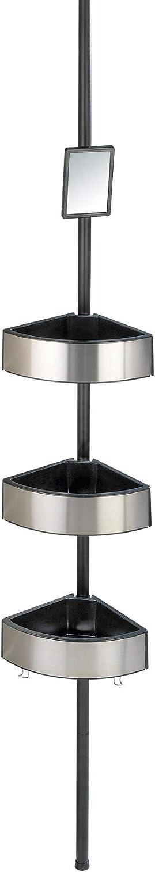 WENKO Rinconera telescópica Premium Big Black - Estantería de baño telescópica, estantería de ducha, regulable en altura con 3 repisas y espejo, ...