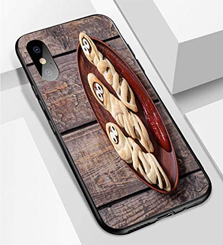 iPhone X/XS Ultra-Thin Phone case Mummy Sausages Scary Halloween Party Food Decoration Wrapped in Dough Anti-Drop Anti-Slip Soft Convenient Protective Shell ()