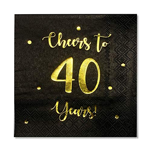 Cheers to 40 Years Cocktail Napkins   Happy 40th Birthday Decorations for Men and Women and Wedding Anniversary Party Decorations   50-Pack 3-Ply Napkins   5 x 5 inch folded (Black)