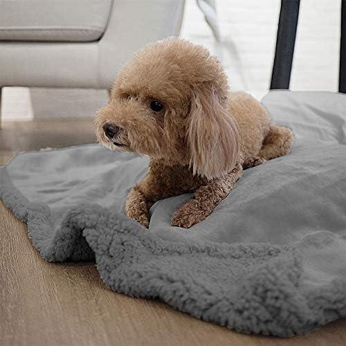 PetAmi - Manta impermeable para perros medianos, cachorros, gatos pequeños, manta suave de forro polar Sherpa para sofá, sofá | funda de cama para mascotas gruesa y duradera, alfombrilla para piso de 76 x 101 cm (ceniza) 7