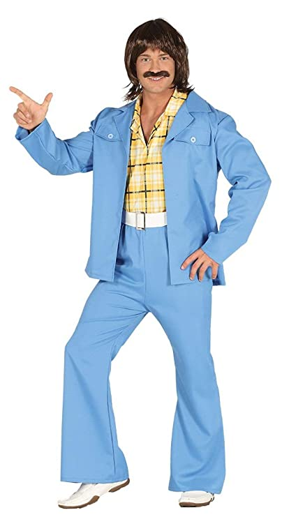 70s Costumes: Disco Costumes, Hippie Outfits Mens Blue 1970s 70s Disco Suit Hippy Hippie Festival Fancy Dress Costume Outfit M & L (Large) $37.16 AT vintagedancer.com
