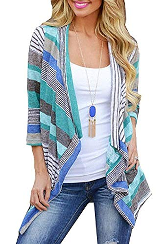 Sleeve Open Front Cardigan - BISHUIGE Women's 3/4 Sleeve Striped Printed Cardigans Open Front Plus Size Kimono Loose Cardigan Sweaters Blue X-Large