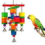 Academyus Colorful Funny Pet Birds Parrot Chew Bite Climbing Cage Toy Wooden Bell Gift - Random Color
