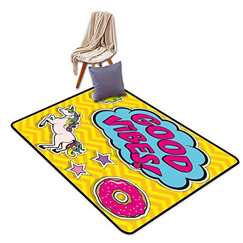 - Custom Door Rugs for Home Rugs Good Vibes Fantastic Colorful Fun Design Cute Magic Unicorn Speech Bubble Stars and Donut Hard and wear Resistant W63 xL90.5 Multicolor
