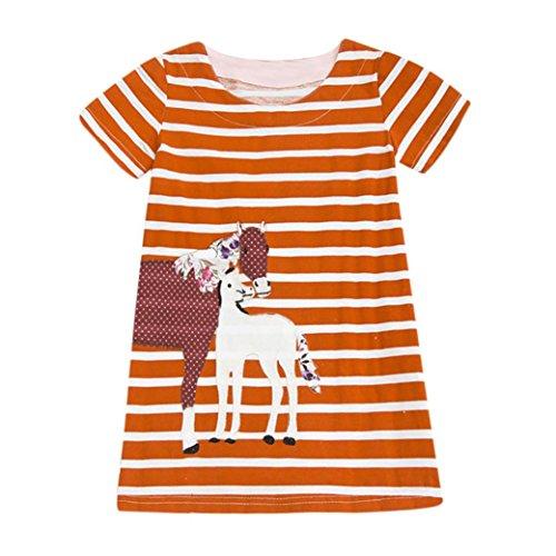 Stripe Gauntlet - ARINLA Newborns Baby Toddler Children Kids Girls Cartoon Print Embroidery Stripe Dress