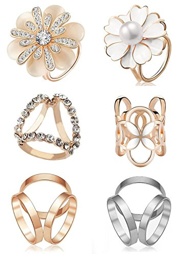 Buckle Fashion Ring (6pcs Women's Fashion Flover Faux Pearl Crystal Rhinestone Scarf Ring Buckle Clip)