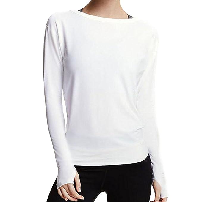 9796e9e2c697b9 NiSengs Donna Magliette Maniche Lunghe Larghe Semplici T Shirt Donna Tinta  Unita Basic alla Maglie Eleganti