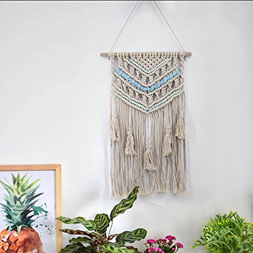 "ChezMax Handmade Macrame Wall Hanging Woven Wall Art Macrame Tapestry Boho Wall Decor Textile Wall Hanging Blue 27.6"" X 17.7"""