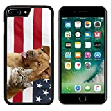 MSD Apple iPhone 8 Plus Case Aluminum Backplate Bumper Snap Case Image ID: 4904845 Proud American Pets with US Flag in as Background Focus on cat