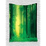 Ambesonne Mystic House Decor Collection, Fantasy Springtime Forest Tall Trees With Magical Light Fairytale Twilight Art Print, Bedroom Living Room Dorm Wall Hanging Tapestry, Green