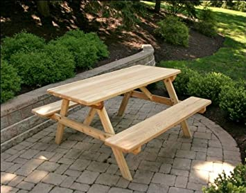 Fantastic Amazon Com 6 Red Cedar Picnic Table With Attached Benches Beatyapartments Chair Design Images Beatyapartmentscom
