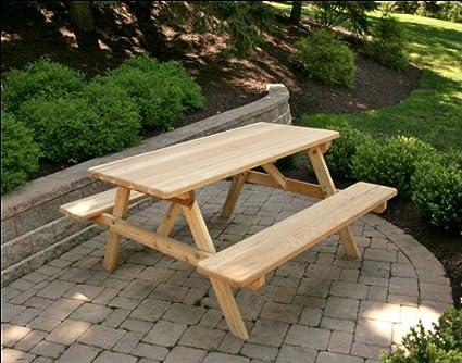 Miraculous Amazon Com 4 Red Cedar Picnic Table With Attached Benches Creativecarmelina Interior Chair Design Creativecarmelinacom