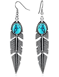 Women's Earrings Bohemian Jewelry Gifts Pendant Metal Tribal Feather Tibetan Dangle Earring