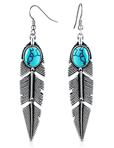 Dangling Turquoise Pendant (XZP Women's Earrings Bohemian Jewelry Gifts Pendant Metal Tribal Feather Tibetan Dangle Earring Retro Silver with Turquoise)