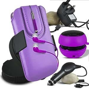 Online-Gadgets UK - Alcatel Pop C5 protección PU deslizamiento del lazo magnético en caja de la bolsa de liberación rápida con Mini capacitivo Stylus Pen retráctil, 3.5mm en la oreja los auriculares, Mini recargable altavoz de la cápsula, 360 Rotating del parabrisas del coche horquilla del sostenedor del montaje, Micro USB aprobación CE 3 platos principales pines cargador, cargador de coche de 12V Micro USB - púrpura Luz